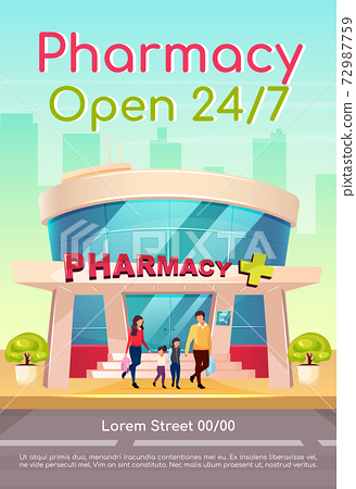 Pharmacy open 24 7 poster flat vector template. Medicine and healthcare. Medication available everyday. Brochure, booklet one page concept design with cartoon characters. Drugstore flyer, leaflet 72987759