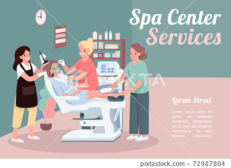 Spa center services banner flat vector template. Brochure, poster concept design with cartoon characters. Facial skincare treatment. Beauty salon horizontal flyer, leaflet with place for text 72987804