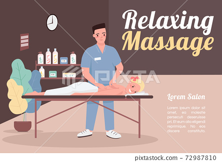 Relaxing massage banner flat vector template. Brochure, poster concept design with cartoon characters. Physiotherapy for body wellbeing. Beauty salon horizontal flyer, leaflet with place for text 72987810