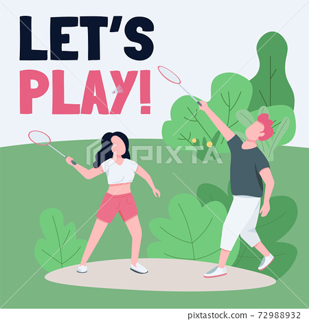 Active rest social media post mockup. Lets play phrase. Web banner design template. Healthy lifestyle, outdoor games booster, content layout with inscription. Poster, print ads and flat illustration 72988932