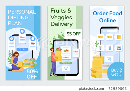 Food delivery special offers flyers flat vector templates set. Online orders discount printable leaflet design layout. Healthy nutrition sale web vertical banner, social media stories 72989068