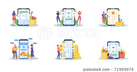 Online food ordering flat concept vector illustrations set. Internet grocers, home kitchen, eating delivery service metaphors. Products buyers, fast food courier and cook 2D cartoon characters 72989078