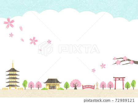 古城和櫻花 72989121
