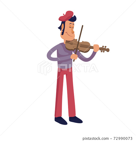 Man playing violin flat cartoon vector illustration. Elegant frenchman, stylish street musician. Ready to use 2d character template for commercial, animation, printing design. Isolated comic hero 72990073