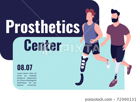 Prosthetics medical center banner flat vector template. Brochure, poster concept design with cartoon characters. People with artificial limbs horizontal flyer, leaflet with place for text 72990131
