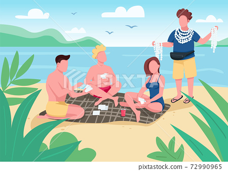 Friends playing cards on beach flat color vector illustration. People buying seashell souvenirs. Local merchant selling accessories. Summer fun. 2D cartoon characters with seascape on background 72990965