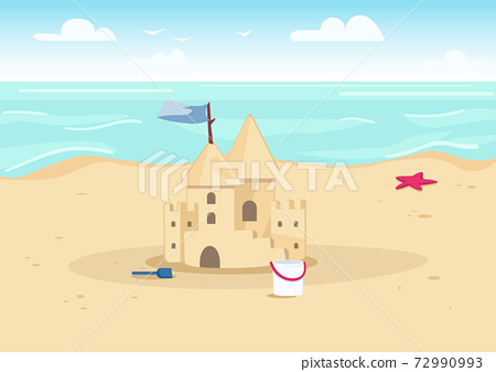 Sandcastle on beach flat color vector illustration. Summer vacation entertainment for kids. Sand castle and children toys on seacoast 2D cartoon landscape with water on background 72990993