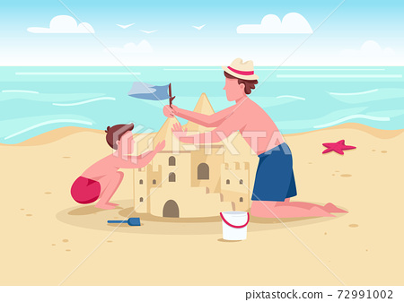 Beach family activity flat color vector illustration. Parent and kid summer entertainment. Father and son building sandcastle 2D cartoon characters with sand beach and sea on background 72991002