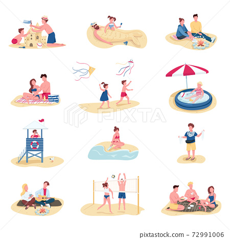 Beach activities flat color vector faceless characters set. Summer recreation. People building sandcastle, kids swimming in inflatable pool isolated cartoon illustrations on white background 72991006