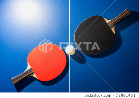 Top view black and red table tennis racket 72991451
