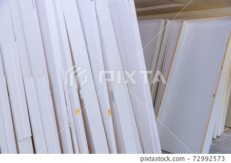 A interior wooden doors a wait installation for new apartment building stacker door installation 72992573