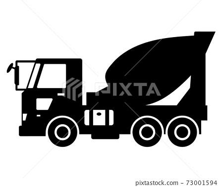 攪拌車/卡車黑白剪影 73001594
