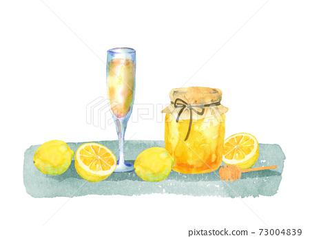 蜂蜜,檸檬和果汁的插圖 73004839