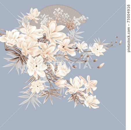 色彩豐富的花卉素材組合和設計元素 73004916