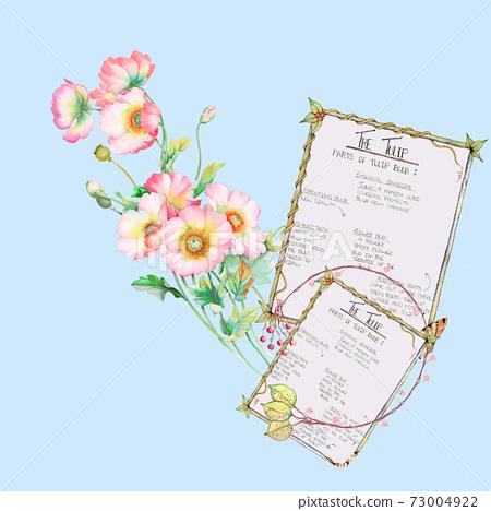 色彩豐富的花卉素材組合和設計元素 73004922