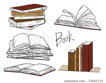 書籍和筆記的手繪插圖圖像 73005255