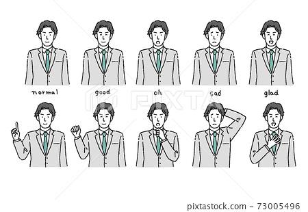 젊은 남성 간단한 터치 인물의 희로애락과 포즈 세트 73005496