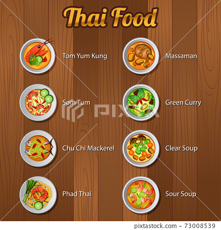 Thai delicious and famous food.with wooden background 73008539