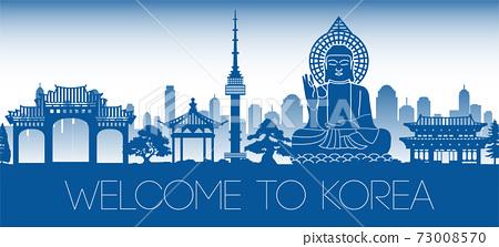 Korea famous landmark blue silhouette design 73008570