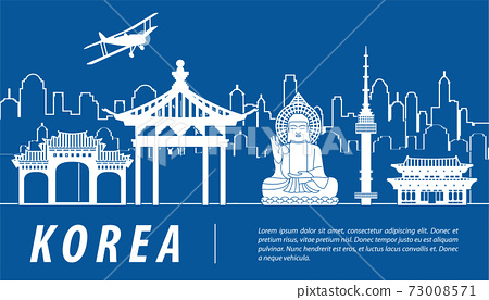 Korea famous landmark silhouette with blue and white color design 73008571