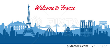 famous landmark of France,travel destination with silhouette classic design 73008572