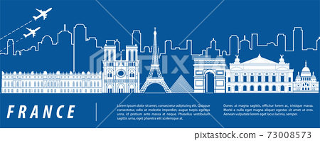 France famous landmark silhouette with blue and white color design 73008573