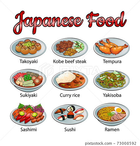 Set of delicious and famous food of Japanese in colorful gradient design icon 73008592