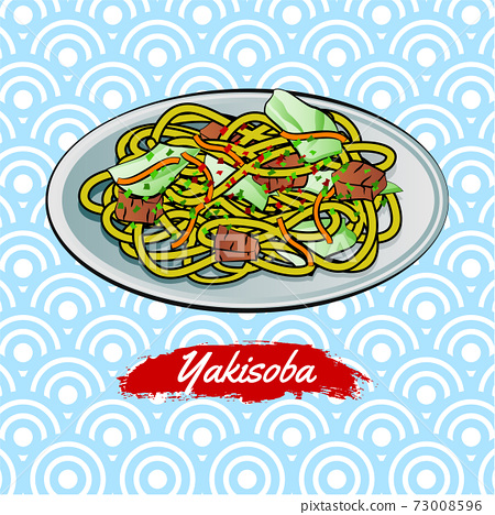 Set of delicious and famous food of Japanese,Yakisoba,in colorful gradient design icon 73008596