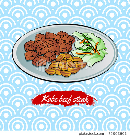 Set of delicious and famous food of Japanese,Beef Steak,in colorful gradient design icon 73008601