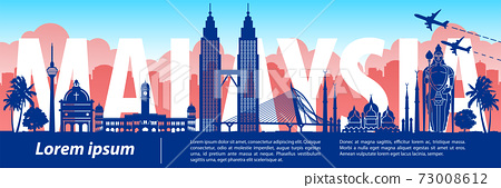 Malaysia famous landmark silhouette style,text within 73008612