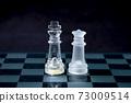 男人和女人在棋盤上。國王和皇后。一對 73009514