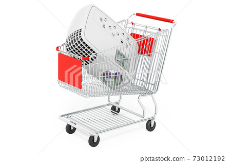 Shopping cart with image projector, 3D rendering 73012192