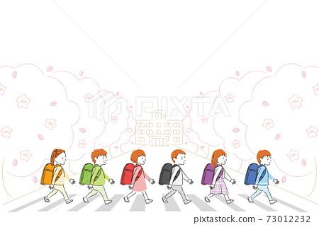 手繪線描彩色插圖新一年級學生春季學校牢房和人行橫道6名兒童和男子 73012232