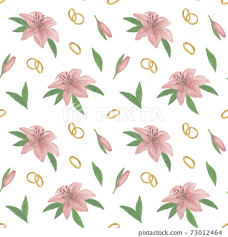 Lily flower of delicate dusky pink color, wedding ring, leaves seamless pattern, hand drawn watercolor illustration simple drawing for St Valentine decor, greeting cards, gift paper, textile, fabric 73012464