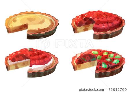 Cut tart watercolor style 73012760