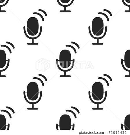 Microphone icon seamless pattern. Image Personal assistant and voice recognition concept flat illustration of sound symbol intelligent technologies. Audio sound icon symbol flat design. Vector 73013452