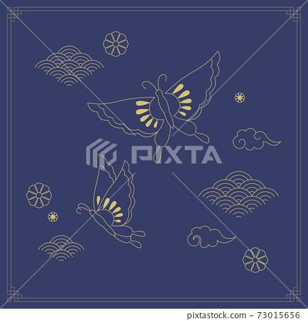 韓國傳統插畫蝴蝶 73015656