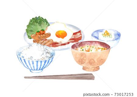 日式早餐設置水彩插圖 73017253