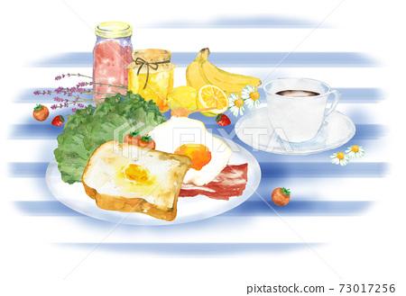 아침의 풍경 수채화 일러스트 73017256