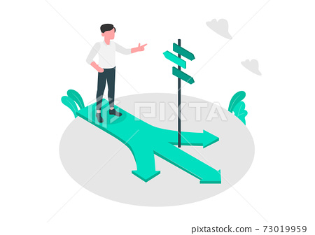 Business people stand and think at a crossroads Business ideas and decisions Flat design vector illustration 73019959