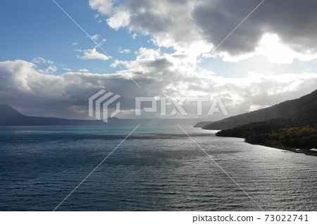 From the sky above the surface of Lake Shikotsu 73022741