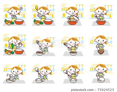 女性在廚房裡做飯 73024523