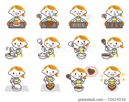과자 만들기를하는 여성 세트 73024530