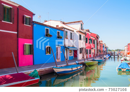 Burano, an island near Venice known for its colorful houses. 73027108