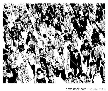 Pedestrians walking at Shibuya Crossing 73029345