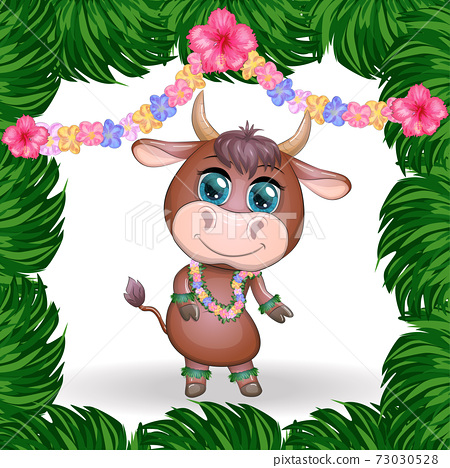 Cute bull character on white background. Cheerful ox dancing. 2021 Lunar Year animal symbol. 73030528
