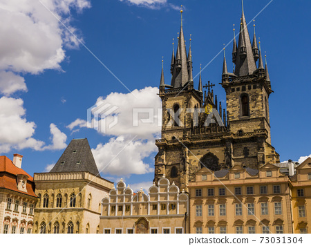Stunning architectures of Prague old town sqaure with Church of Mother God before Tyn, Czech Republic 73031304