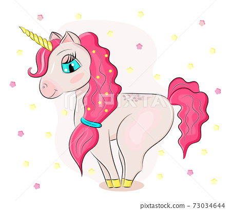 Cute baby pink unicorn vector isolated on stars background. Print for t-shirts or sticker. Romantic magic Pegasus illustration 73034644