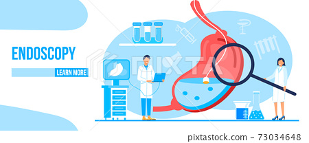 Endoscopy healthcare technology concept vector. Tiny doctors research stomach. Gastroenterology illustration for medical blog website 73034648