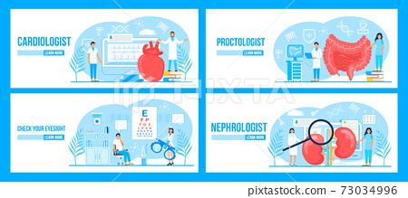 Cardiologist, proctologist, nephrologist, eye doctor concept set vector for landing page, medical 73034996